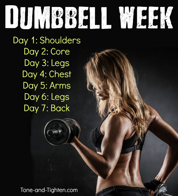 Seven of the best at-home workouts you can do with dumbbells! From Tone-and-Tighten.com