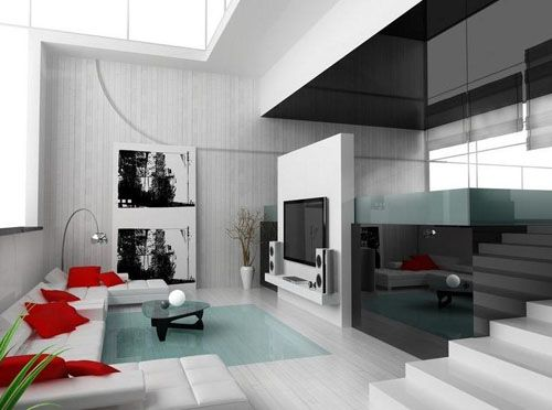 Interior, Modern Living Room Design Ideas With White Sofa And Red Cushion  And White Wood Floor Design For Living Room Ideas And Small Glass Table  Design And ...