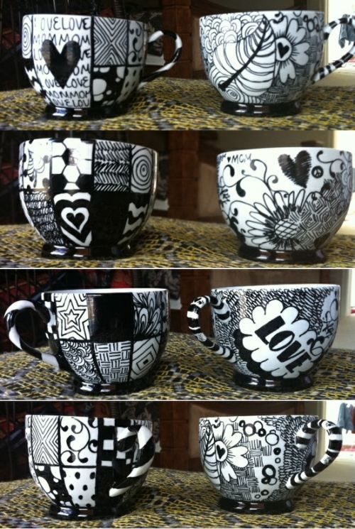 Sharpie Mug - draw on a mug with a sharpie marker, bake for 30 minutes in a 425F oven, then leave in there overnight so the design won't wash off