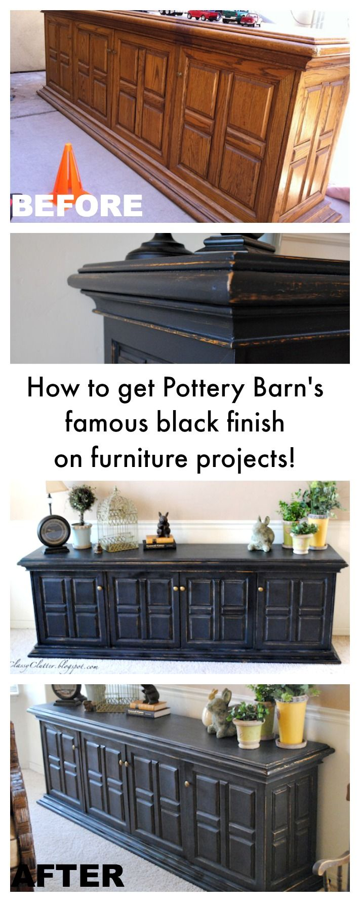 island and lower cabinets? Pottery Barn Black Furniture Finish Tutorial