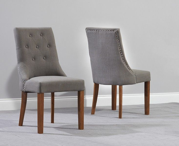 Buy the Pacific Grey Fabric Dark Oak Leg Dining Chairs  at Oak Furniture Superstore