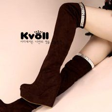 X53534 Kvoll Joker Suede Rhinestone Edge Wedge Heel Overknee Boots Brown [X53534] - $30.75 : China,Korean,Japan Fashion clothing wholesale and Dropship online-Be the most beautiful Lady