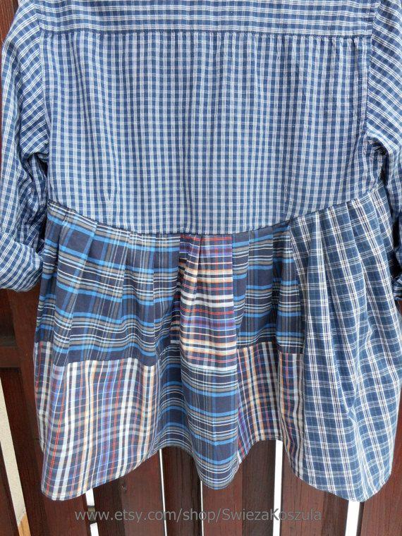 M/L Babydoll Tunic Dress Shirt Dresses UpCycled by SwiezaKoszula