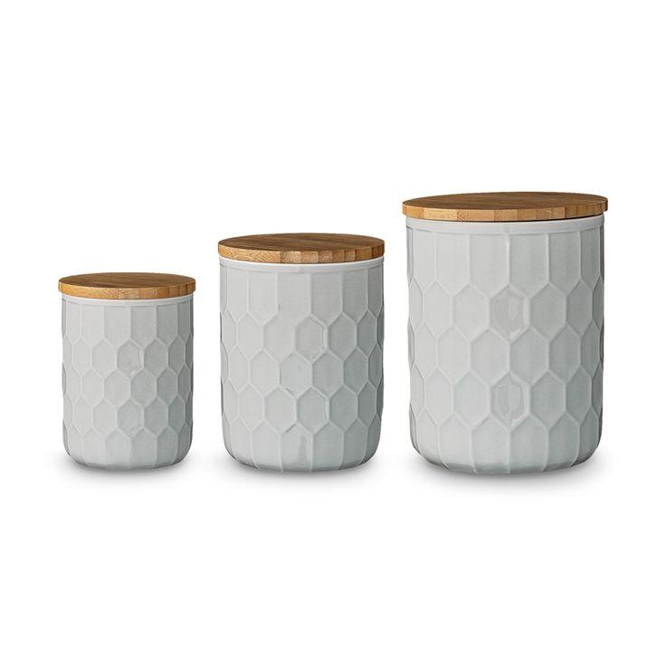 Dürfen in keiner Skandi-Küche fehlen: Bloomingville Keramik Vorratsdosen-Set mit Bambusdeckel, rund, grau und 3 tlg.