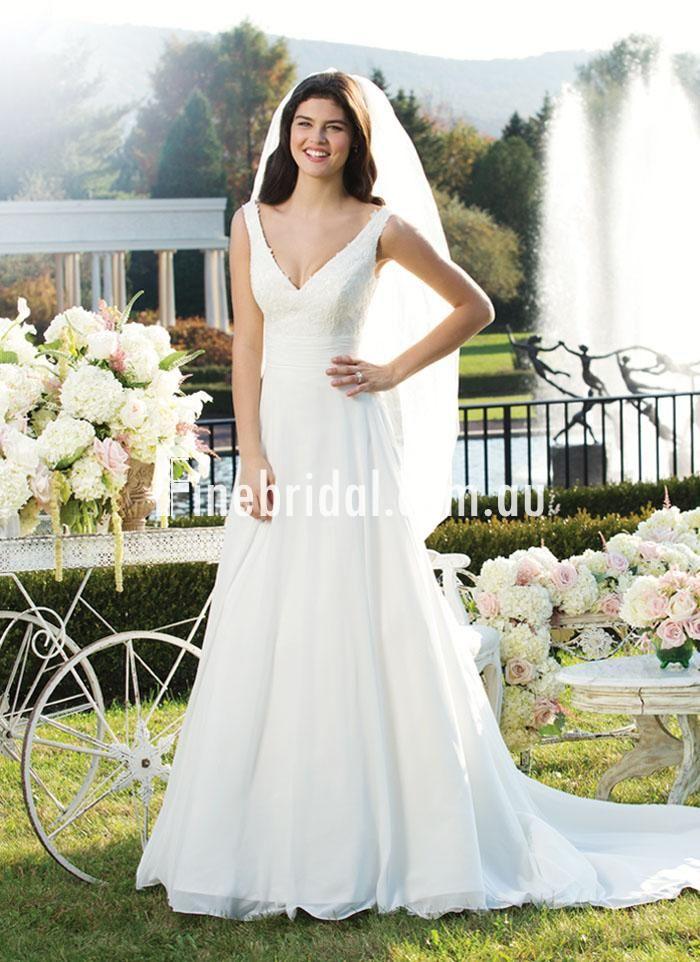 Beautiful Lace Deep V Neck Circular Cut Chiffon Sweep Train Beach Wedding Gown