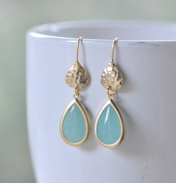 Aqua and gold bridesmaid earrings by Rustic Gem.  Aqua wedding jewelry.