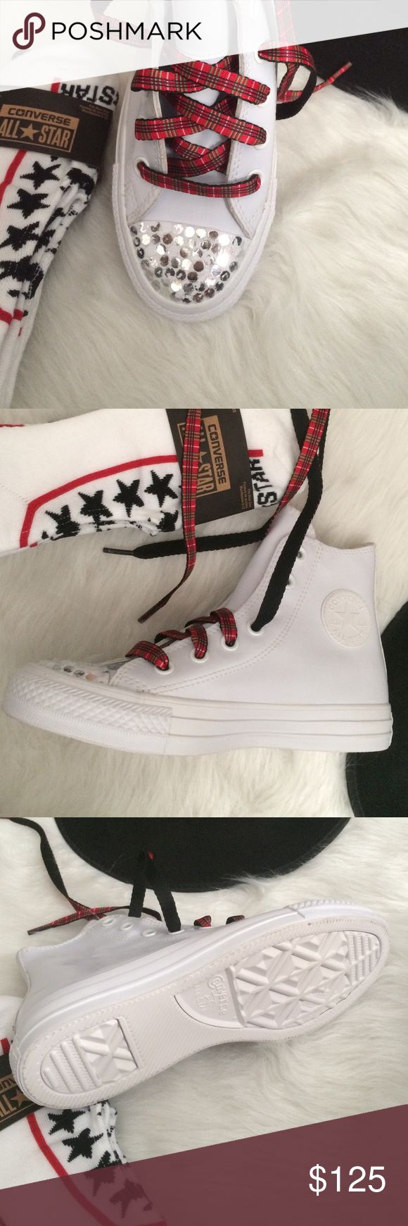 Converse customized all white women's size 6 Plaid laces added. Will come with all white laces as well. Customized toe. Shoes are a women's size 6. Rubber material. Hi tops new without box. Converse Shoes Sneakers