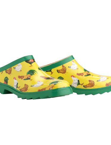 ya know the garden grows better when you wear cute shoes,Chickens Gardener's Clogs ! I LOVE these!