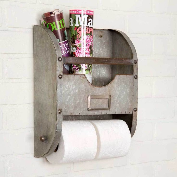 New Rustic Farmhouse Chic METAL BUCKET TOILET PAPER BAR Magazine Rack Holder #CTW