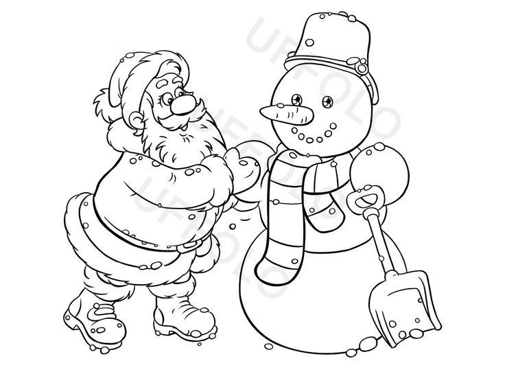 Babbo natale e pupazzo di neve disegni da colorare - Pupazzo di neve pagine da colorare ...