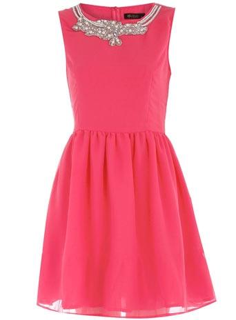 Pink embellished neck dress $39