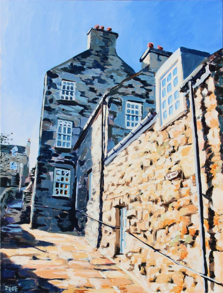 Law Lane Acrylic on canvas 40x30 inches April 2014  Downtown Lerwick exhibits Viking land-holding divisions, resulting in long thin lots running uphill from the coast, separated a series of alleyways (closes) that climb steeply away from the waterfront.  Good for your heart, less so for the knees.