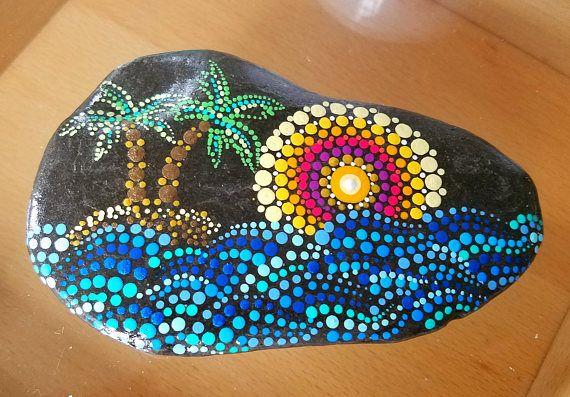 Grande dipinto Rock  oceano onde blu  spiaggia pietra