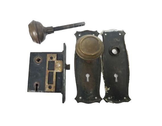 Vintage Brass Doorknob And Back Plate Set With Mortise Lock And Strike Antique Hardware Back Plate Plate Sets