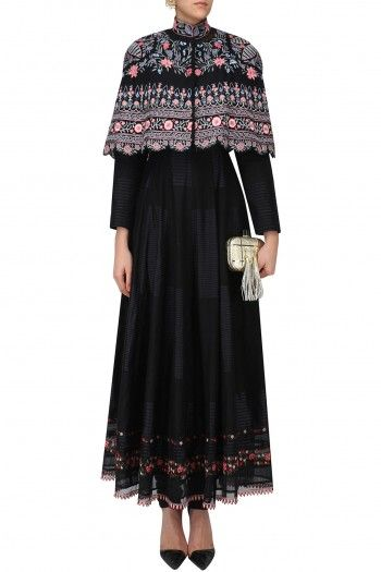Rahul Mishra Black Anarkali Dress with Hand Embroidered Cape #happyshopping #shopnow #ppus