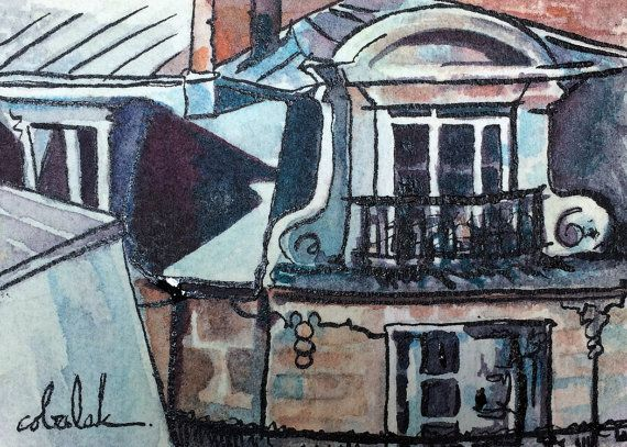 Paris Window Architecture ACEO original by ChristyObalek on Etsy