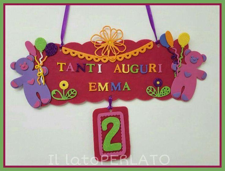 Il latoPerlato: Targa per festa di compleanno in feltro con decorazioni in crepla