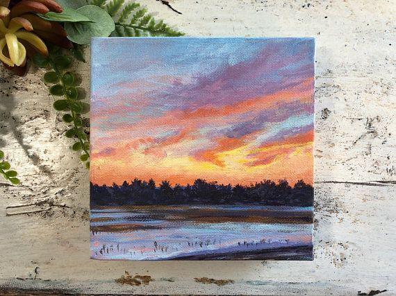 Mini Winter Sunset Small Square Landscape Painting Rolling Hills Orange Skies 6x6 Canvas Art Painting Acrylic Landscape Paintings Acrylic Small Canvas Art