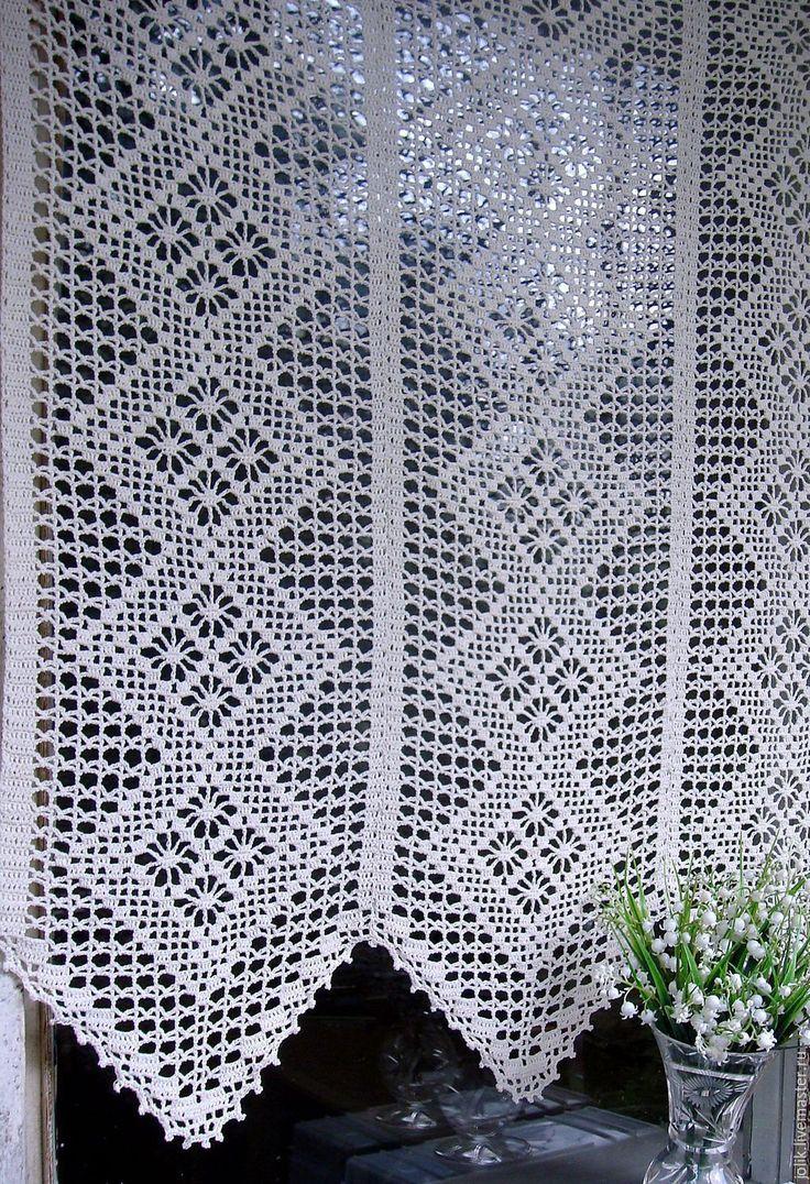 Купить Занавеска вязаная крючком Ромбы - белый, шторы, занавески, шторы для…