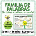 4+pages+of+exercises+about+Familias+de+Palabras+(Word+Families)+in+Spanish.  Includes+a+wall+chart/poster+(A4)+with+an+example+of+one+family+of+wor...