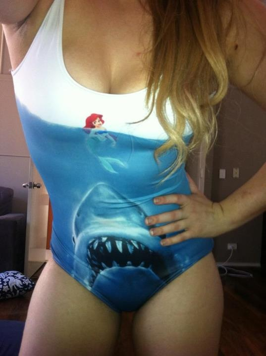 poor arielLittle Mermaids, Sharks Eating, Crazy Stuff, Jewelry Fashion, Ariel Swimsuits, Mermaid Swimsuits, Body Suits, Swimsuits Jordans, Dreams Closets