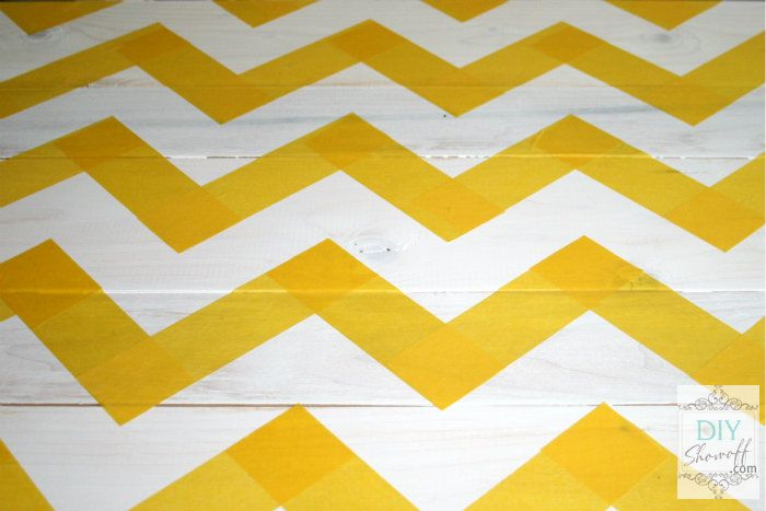 Painting with colour doesn't need to be flat or straight - use painter's tape to get creative #DIY