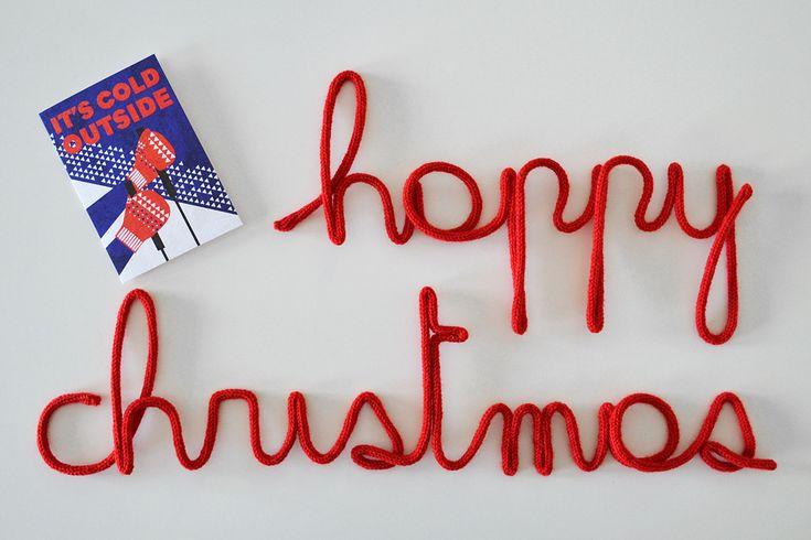 Scritta HAPPY CHRISTMAS in fil di ferro ricoperta in maglia di lana di Laboratoriografico su Etsy