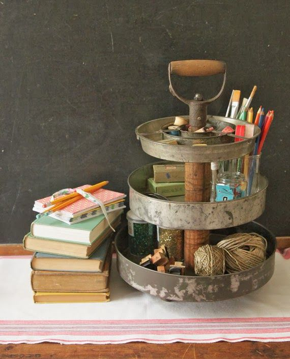 turn old cake pans and shovel handle into an industrial desk organizer