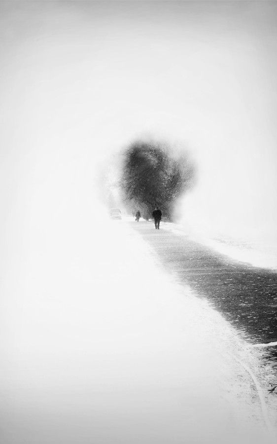 on the road in winter | photography black & white . Schwarz-Weiß-Fotografie . photographie noir et blanc | Photo: Evgenia Babicheva |