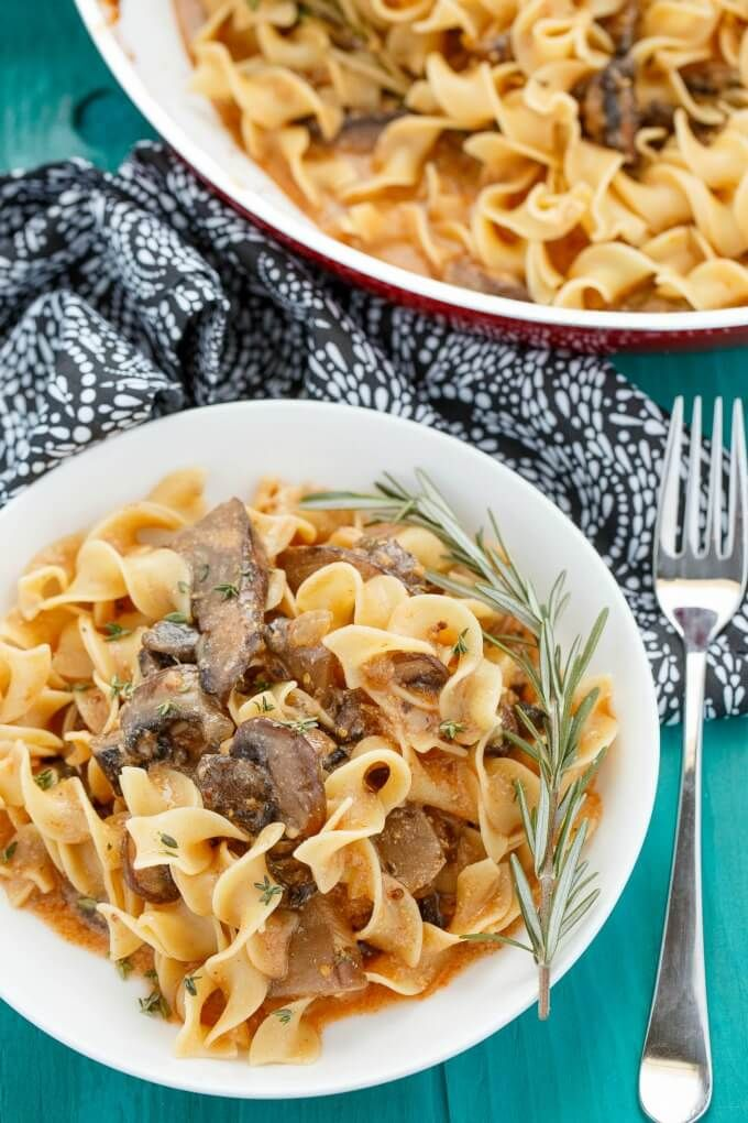 Mushroom stroganoff is a hearty vegetarian dish that uses portobello mushrooms as the sustainable ingredient. Recipe can be adjusted to be vegan.