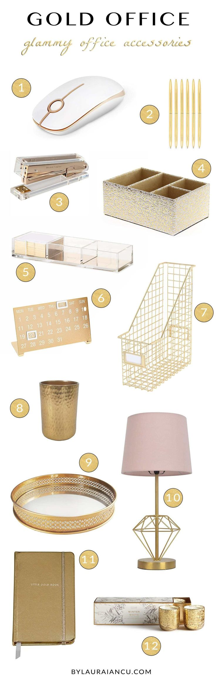 Home office ideas for a super chic desk. LOVE all these gold office accessories and supplies. Office design inspiration for work from home women, bloggers, entrepreneurs, etc.