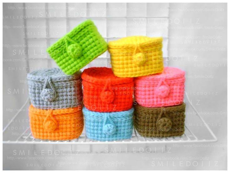 Colorful crochet boxes