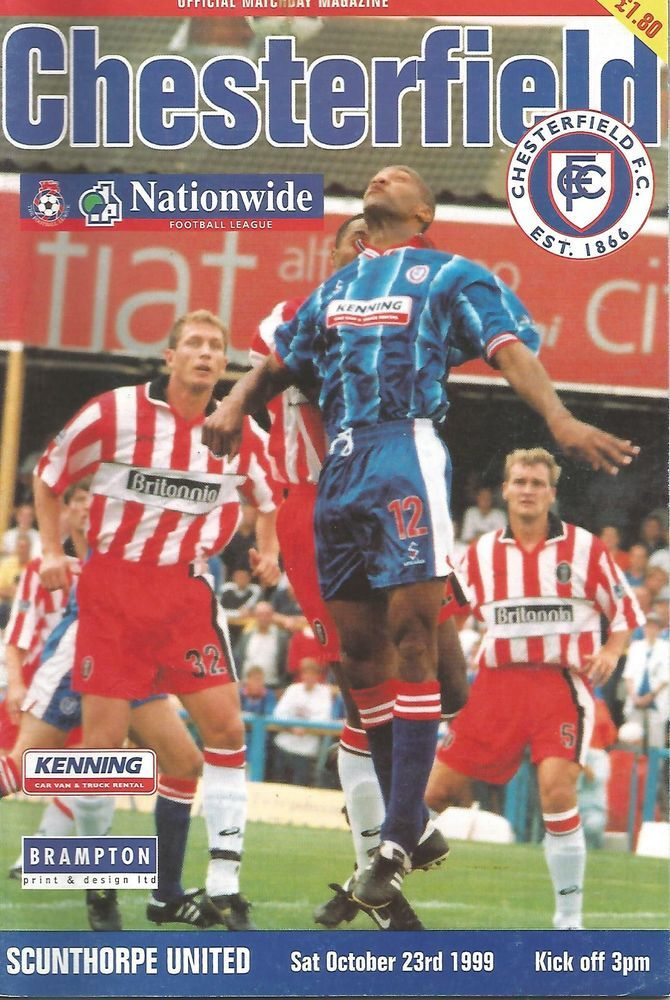Football Programme - Chesterfield v Scunthorpe United - Div 2 - 1999