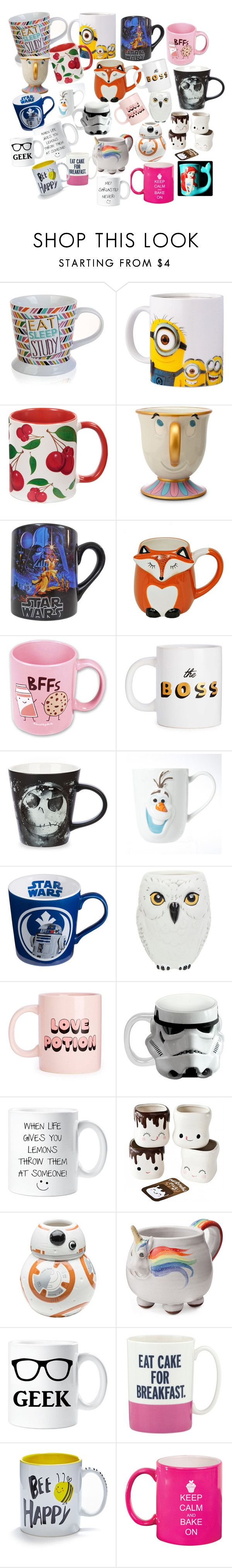 """""""Cool mugs"""" by kelskels27 ❤ liked on Polyvore featuring interior, interiors, interior design, home, home decor, interior decorating, Disney, Suck, Vandor and ZAK"""