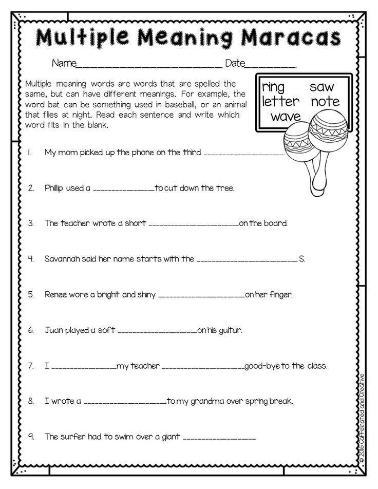 Spring Into Spring Multiple Meaning Words Multiple Meaning Words Activities Multiple Meaning Words Worksheet