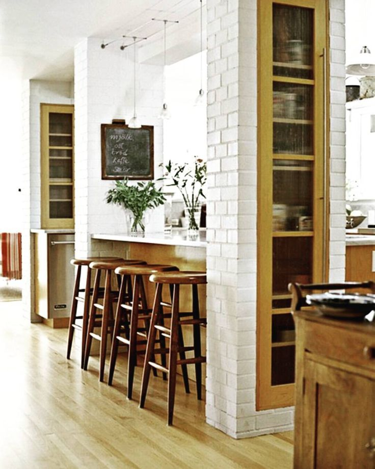 Charming The Kitchen Island Is Bookended With Brick Columns To Create More Storage  Space And Dress Up Existing Support Posts That Couldnu0027t Be Moved.