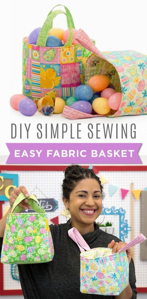 Make Easy Fabric Baskets for Easter or for Home Organization! Sew Easy to Make!!