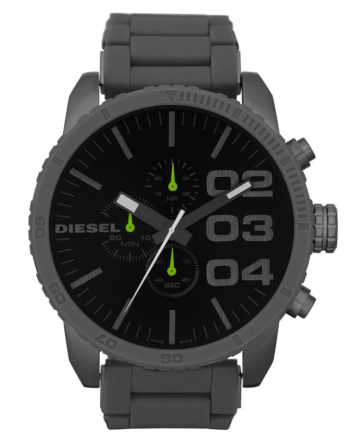 Diesel Watch, Chronograph Gray Silicone Wrapped Stainless Steel Bracelet 66x57mm DZ4254 - Men's Watches - Jewelry & Watches - Macy's