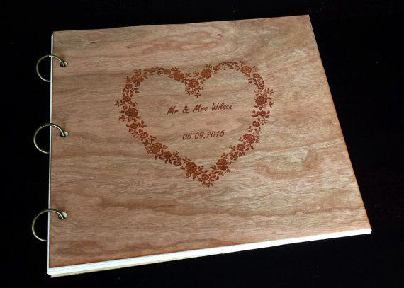 Wedding Guest Book Wood /Custom Photo Album by LaserWoodpecker