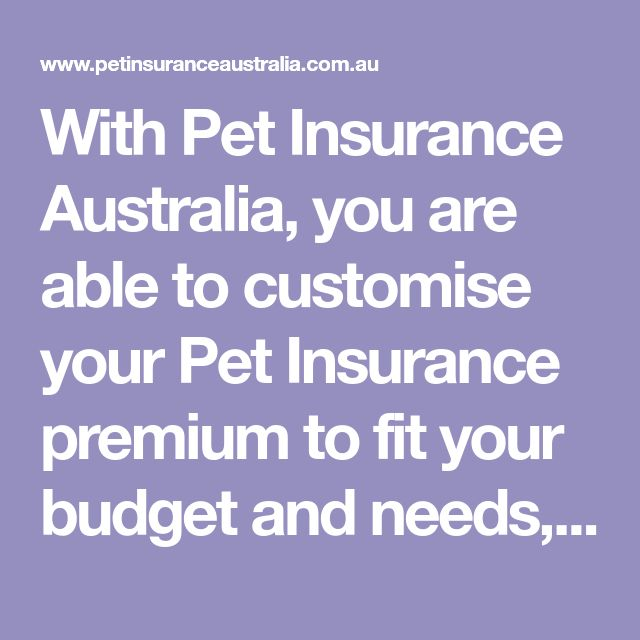With Pet Insurance Australia You Are Able To Customise Your Pet Insurance Premium To Fit Your Budget And Needs As W Pet Insurance Insurance Premium Insurance