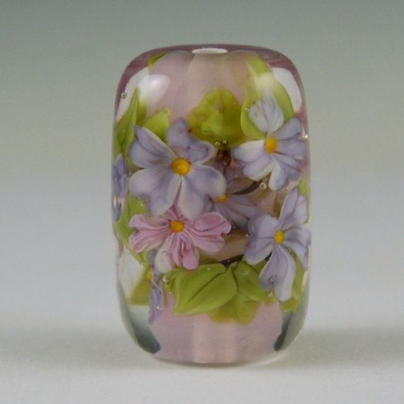encased pastel floral glass focal bead by on etsy lampwork