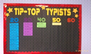 bulletin board in computer lab  for typing awards  Crafts-n-Cards Cricut Corner