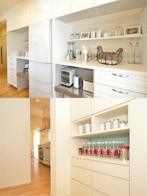 【上】キッチンの背面収納にはカウンターを配し、調理家電もたくさん置けるように【下】食品庫となる収納は、引出しを多めに設けて細かい物でも収納しやすく