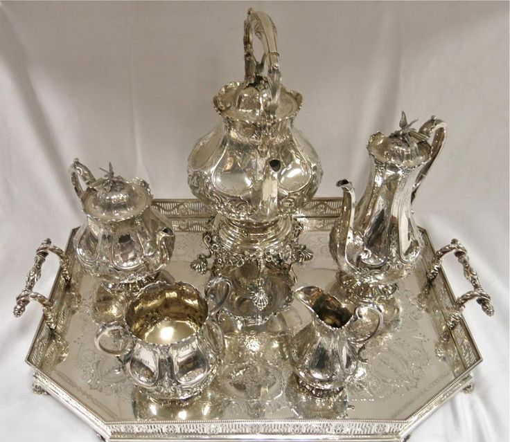 Exceptional Quality Sterling Silver Antique English Tea & Coffee Service With Sterling Silver Gallery Tray. For Sale @ www.EstateSilver.com
