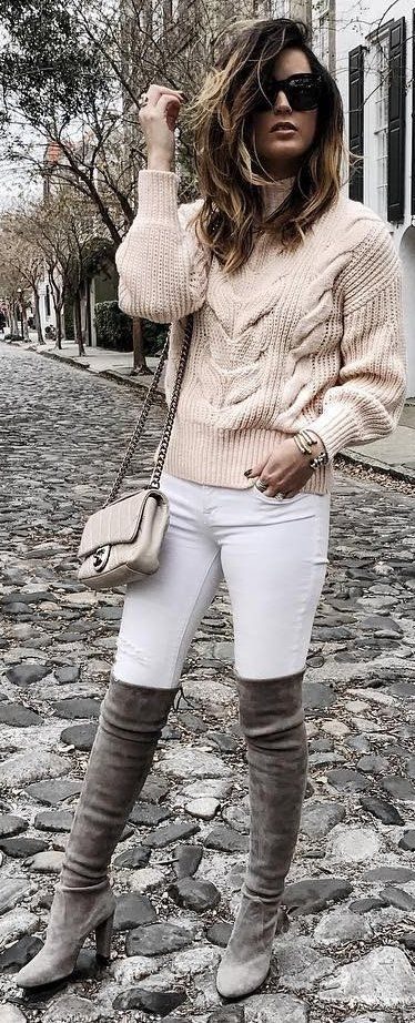 #winter #fashion Cream Knit + White Skinny Jeans + Grey OTK Boots