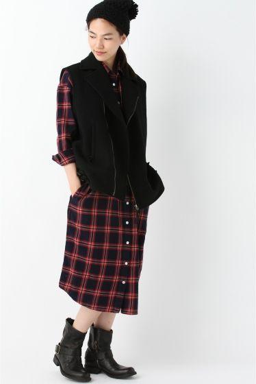 【予約】インディゴネルチェックシャツワンピース