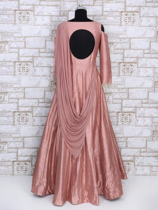 Shop Designer pink color silk gown online from G3fashion India ...