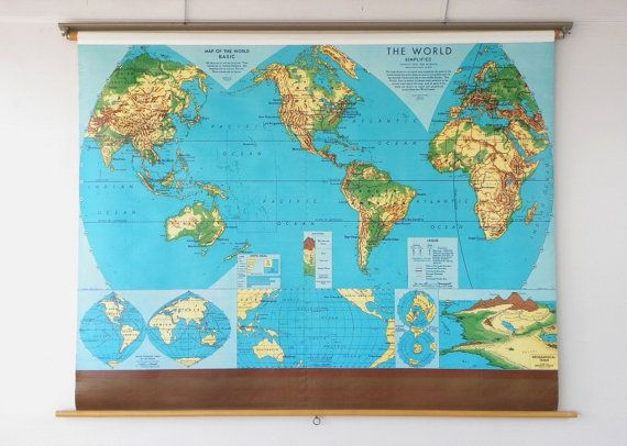 Roll Down World Map.Vintage Pull Down World Map Colorful Graphic Parabolic