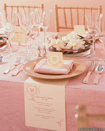 Fashion a bill of fare to anchor beneath each plate. This idea is perfect for an outdoor wedding, since breezes won't be able to blow the menus away. The menu here is 6 1/2 by 13 inches, folded 6 inches from the top edge