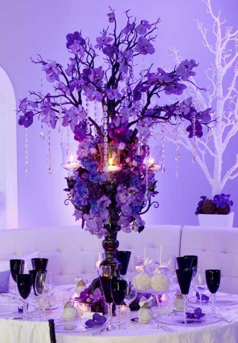 When a bride can't get enough of purple use it everywhere  and light the room with it too